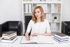 Buchhalter mit Hauptbuch stockbild