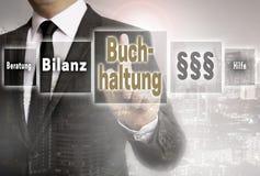 Buchhaltung en la contabilidad alemana, ayuda, avice, busi del resultado final Fotografía de archivo