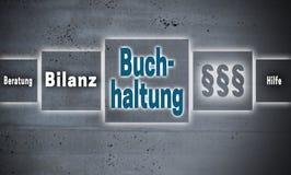 Buchhaltung en la contabilidad alemana, ayuda, avice, touc del resultado final Fotos de archivo libres de regalías