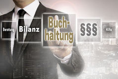 Buchhaltung in german Accounting, Help, avice, end result busi Stock Photography