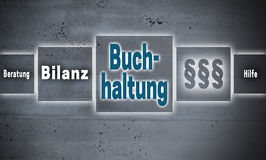 Buchhaltung in german Accounting, Help, avice, end result touc Royalty Free Stock Photos
