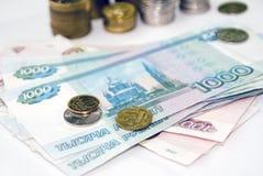Buchhaltungeinkommen auf der Tabelle Stockbilder