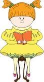 Buchillustration des jungen Mädchens Lese Lizenzfreie Stockfotografie