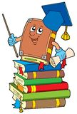 Buchlehrer auf Stapel der Bücher Lizenzfreies Stockbild