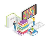 Buchlesekonzept Kleine Leute mit enormen Büchern Bildungson-line-Ausbildungskurs-Fernstudiumtutorien und lizenzfreie abbildung