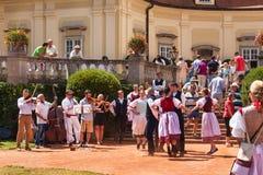 Buchlovice,捷克, 2017年7月29日:巴洛克式的大别墅Buchlovice,建筑在1700前开始 庭院开头  库存照片