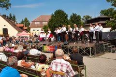 Buchlovice, repubblica Ceca, il 23 luglio 2016: Celebrazione di aglio Celebrazioni tradizionali del raccolto degli agricoltori di Immagine Stock