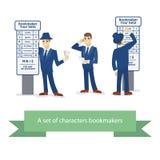 Buchmachercharakter, komischer Mann der Karikatur Auch im corel abgehobenen Betrag Lizenzfreie Stockfotografie