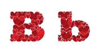 Buchstabe B des Alphabetes gemacht von den Herzen Lizenzfreie Stockfotografie