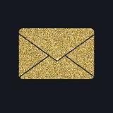 Buchstabe der Postikone mit Funkelneffekt, lokalisiert auf schwarzen Hintergrund Umreißen Sie Ikone des Papierumschlags, Vektorpi Lizenzfreie Stockfotos