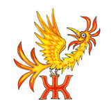 Buchstabe des Fantasie-kyrillischen Alphabetes - Azbuka mit Firebird Stockbild