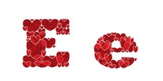 Buchstabe E des Alphabetes gemacht von den Herzen Lizenzfreie Stockfotos