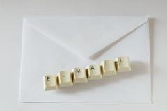 Buchstabe-E-Mail und -umschlag Lizenzfreies Stockfoto