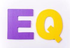 Buchstabe EQ auf weißem Hintergrund Lizenzfreie Stockfotos