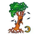 Buchstabe für Fantasie-kyrillisches Alphabet - Azbuka mit dem Baumcharakter HNO Stockfoto