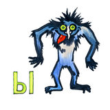 Buchstabe für Fantasie-kyrillisches Alphabet - Azbuka mit Monster Lizenzfreies Stockbild