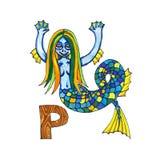 Buchstabe für Fantasie-kyrillisches Alphabet - Azbuka mit netter Meerjungfrau Stockbilder