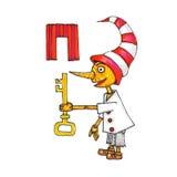 Buchstabe für Fantasie-kyrillisches Alphabet - Azbuka mit Pinocchio-Puppe Stockfotografie