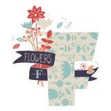 Buchstabe F mit Blumen Stockbild