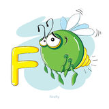 Buchstabe F mit lustigem Leuchtkäfer Stockbild