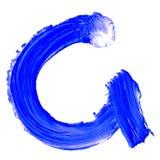 Buchstabe G gezeichnet mit blauen Farben Stockbild