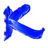 Buchstabe K gezeichnet mit blauen Farben Stockbilder