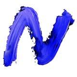 Buchstabe K gezeichnet mit blauen Farben Stockbild