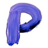 Buchstabe K gezeichnet mit blauen Farben Lizenzfreie Stockfotos