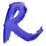 Buchstabe K gezeichnet mit blauen Farben Lizenzfreies Stockbild