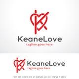 Buchstabe K und Liebe Logo Template Design Vector, Emblem, Konzept des Entwurfes, kreatives Symbol, Ikone Lizenzfreies Stockfoto