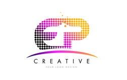 Buchstabe Logo Design EP E P mit magentaroten Punkten und Swoosh Lizenzfreie Stockbilder
