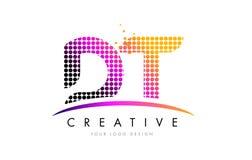 Buchstabe Logo Design Papierlösekorotrones D T mit magentaroten Punkten und Swoosh Lizenzfreie Stockfotografie