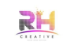 Buchstabe Logo Design relativer Feuchtigkeit R H mit magentaroten Punkten und Swoosh Stockfotografie