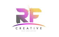 Buchstabe Logo Design Rfs R F mit magentaroten Punkten und Swoosh Lizenzfreie Stockbilder