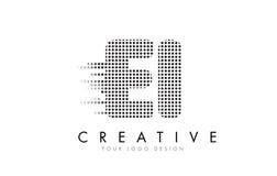 Buchstabe-Logo E-I E-I mit schwarzen Flecken und Spuren Stockfotografie