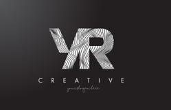 Buchstabe-Logo Jahres Y R mit Zebra-Linien Beschaffenheits-Design-Vektor Lizenzfreie Stockfotografie