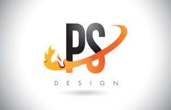 Buchstabe-Logo PS P S mit Feuer-Flammen-Design und orange Swoosh Lizenzfreies Stockfoto