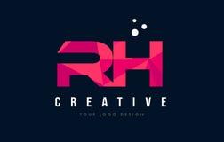 Buchstabe-Logo relativer Feuchtigkeit R H mit purpurrotem niedrigem rosa Dreieck-Polykonzept Stockbilder