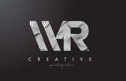 Buchstabe-Logo WR W R mit Zebra-Linien Beschaffenheits-Design-Vektor vektor abbildung