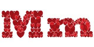 Buchstabe M des Alphabetes gemacht von den Herzen Lizenzfreie Stockfotografie