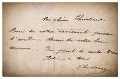 Buchstabe mit handgeschriebenem Text Schmutzweinlesepappe Stockbilder