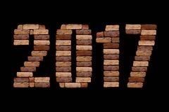 Buchstabe 2017 mit Ziegelsteinstein Stockbild