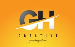 Buchstabe moderner Logo Design Handhabung am Boden G H mit gelbem Hintergrund und Swoo vektor abbildung