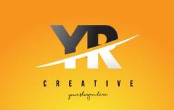 Buchstabe moderner Logo Design Jahres Y R mit gelbem Hintergrund und Swoo Stockbild