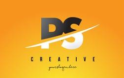 Buchstabe moderner Logo Design PS P S mit gelbem Hintergrund und Swoo Lizenzfreies Stockfoto
