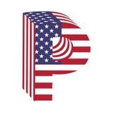 Buchstabe P des lateinischen Alphabetes USA-Flagge 3d Strukturierter Guss Lizenzfreie Stockbilder