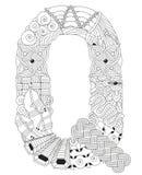 Buchstabe Q für die Färbung Vektor dekorativer zentangle Gegenstand Lizenzfreie Stockfotos