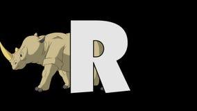 Buchstabe R und Nashorn (Hintergrund) lizenzfreie abbildung
