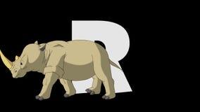 Buchstabe R und Nashorn (Vordergrund) vektor abbildung