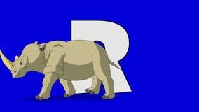 Buchstabe R und Nashorn (Vordergrund) stock abbildung